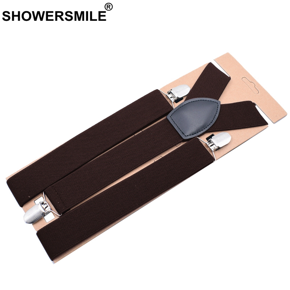 SHOWERSMILE Brown Suspenders Wide Men Adult Pants Braces For Trouser Burgundy Wedding Business Trousers Belt Plus Size 120cm