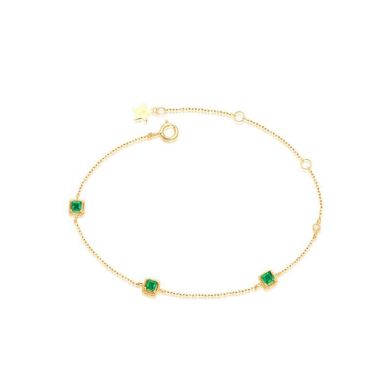 JXXGS Hot Sale 14K Gold Elegant Natural Emerald Bracelet Romantic Birthday Gift Bracelet For Women