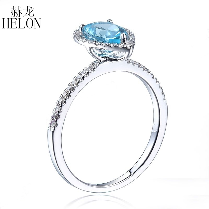 SOLID 14 К (585) белое золото Груша 7x5 мм 1ct Подлинная Голубой топаз настоящие бриллианты драгоценных камней Обручение свадьба ювелирные изделия к...