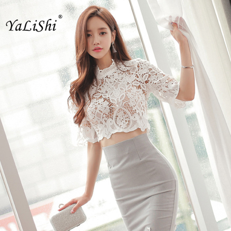 YaLiShi 2 Piece Set Women Suit 2017 Summer White Lace Half Sleeveless Blouse Shirt Tops and Pencil Skirt Crop Top and Skirt Set