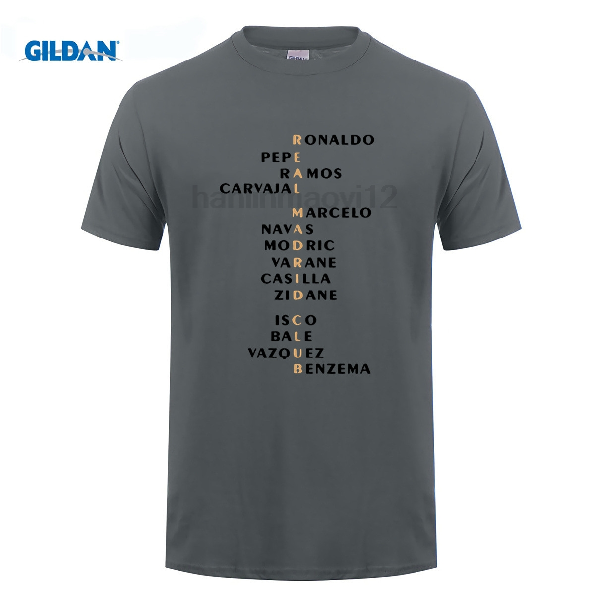 GILDAN madrid team all name Cristiano Ronaldo shirts bale benzema Short Sleeve T Shirt Man casual for real fans gift