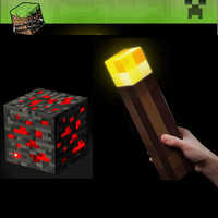 Light Up Minecraft Action Figure Torch Night Lamp Redstone Ore Square Toys Lighting Diamond Model Toys for Kids Gift