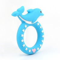 Wholesale 20pc Blue Dolphin Baby Teethers Soft Pacifier Pendant BPA Free Chew Silicone Animal Teething Chain