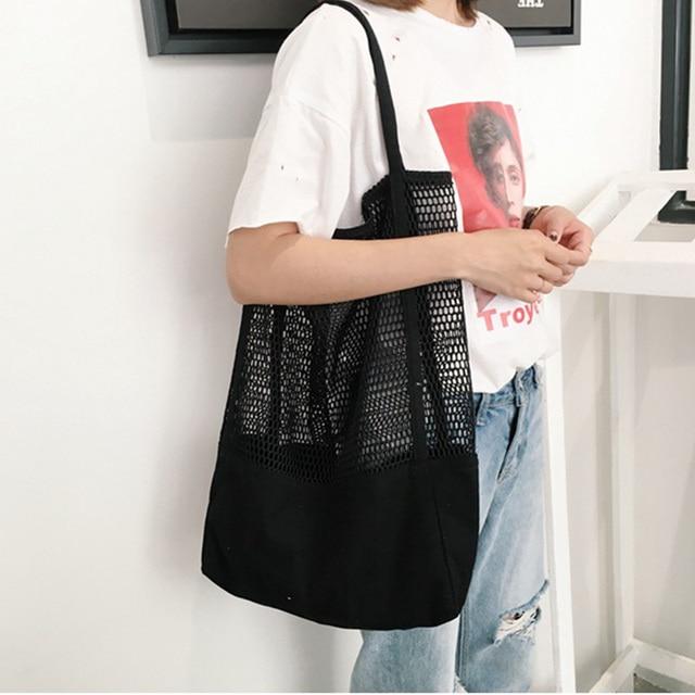 Большой Для женщин сумка хозяйственная сумка сетки выдалбливают пляжная сумка холст сумки