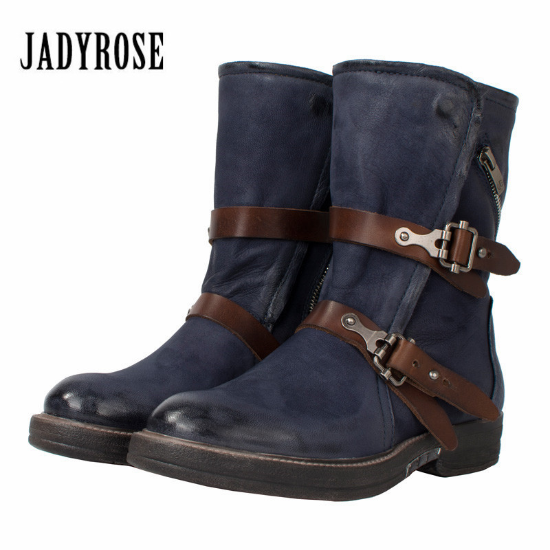 Jady Rose Blue Women Ankle Boots Genuine Leather Strap Flat High Boots Rubber Shoes Woman Platform Martin Boot for Autumn Winter