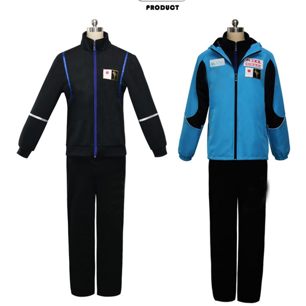 YURI på ICE Katsuki Yuri Cosplay kostymdräkt (Blue Jacket + Black - Maskeradkläder och utklädnad
