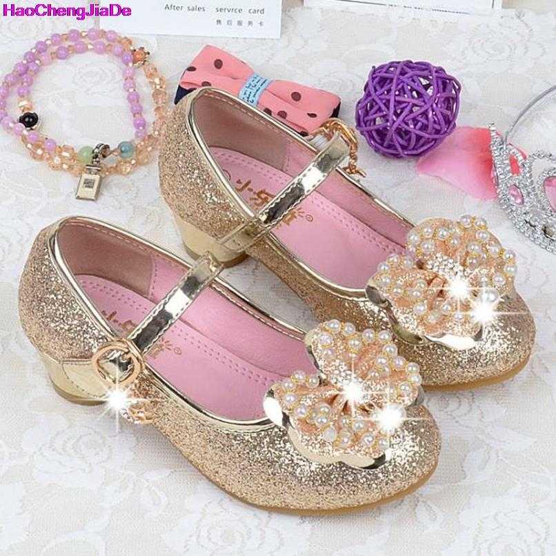 34cec8d97ecc HaoChengJiaDe Children Princess Shoes Kids Girls Wedding Shoes High Heels  Dress Shoes Bowtie Party Shoes For