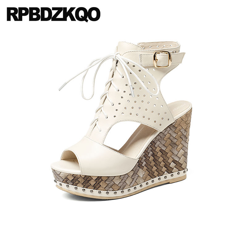 81335e876433 High Heels Fetish Booties Wedge Sandals Platform Luxury Lace Up Pumps  Genuine Leather Shoes Peep Toe White Rivet Boots Women