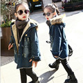 Fashion Children's Costumes Kids Girl Denim Coat Winter Faux Fur Collar Hooded Kids Jackets Thicken Velvet Girls Jeans Outfits