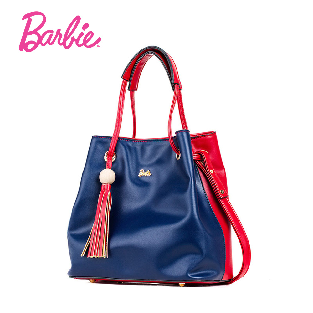 Barbie fashion Women Shoulder Bags Leather handbags wood bead tassel red blue color patchwork women Female Bag Individuality часы я zhuolun мужские часы 2017 новый простой корейский моды большой набор новый yzl0558th 2