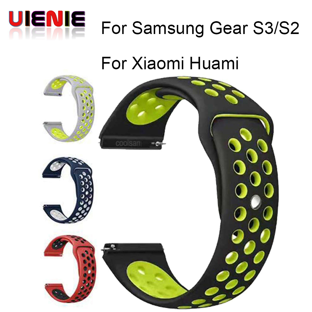 все цены на 20 22 MM silicone Strap For Samsung Gear sport S2 S3 Classic Frontier watch Band huami amazfit pace Bip BIT Lite Huawei Watch 2 онлайн