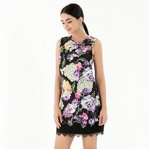 Image 2 - AELESEEN 2019 Summer New Fashion Vintage Style Dresses Women Luxury Beading Lace Spliced Sleeveless European Print Mini Dress
