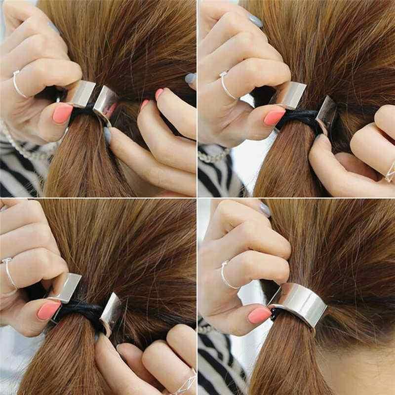 MISSKY mujeres moda aleación Metal brazalete envolver Ponytaill soporte corbata horquilla para el cabello