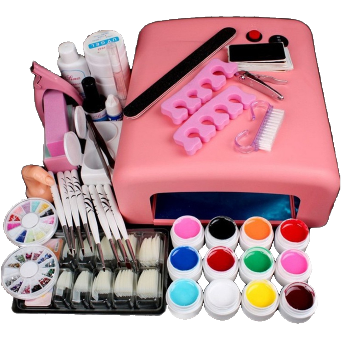2017 Home Use 36W UV GEL White Lamp & 12 Color UV Gel Nail Art Tool Kits manicure set Be gift for Girl friend