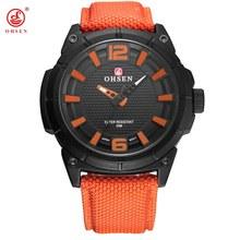 2017 OHSEN แฟชั่น Casual แบรนด์ชายสีส้มนาฬิกาควอตซ์ชายธุรกิจนาฬิกาข้อมือ 30 เมตรนาฬิกากันน้ำ Hombre Analog Relogio