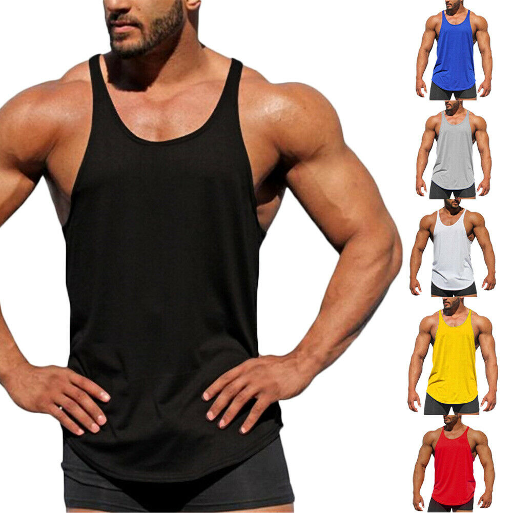 Men Gym Muscle Shirt Tank Top Sport Bodybuilding Stringer Fitness Athletic Vest|Running Vests| - AliExpress