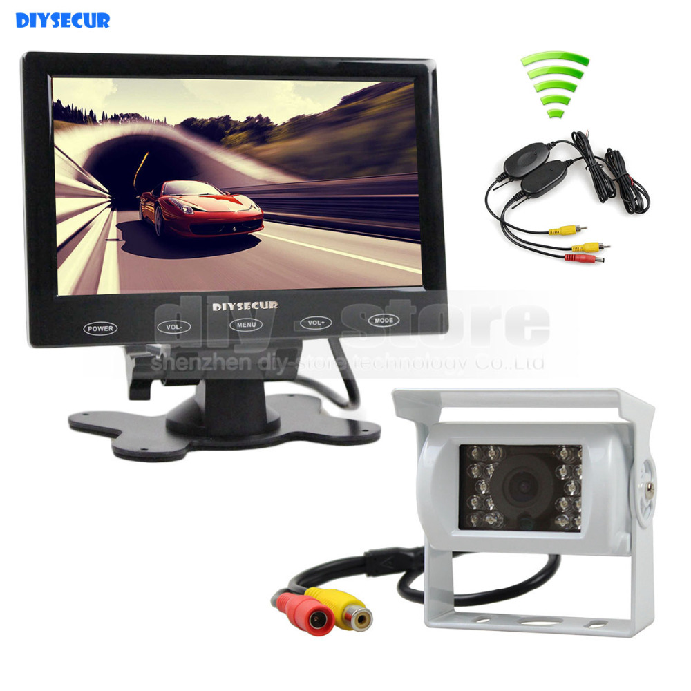 DIYSECUR Wireless 7 inch Touch Monitor Rear View Kit for Horse Trailer Motorhome Backup CCD Waterproof Camera Kit System diykit wired 12v 24v dc 9 car monitor rear view kit backup waterproof ccd camera system kit for bus horse trailer motorhome