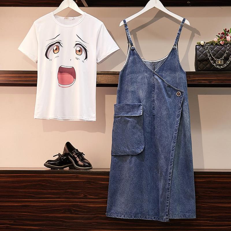 Femmes drôle imprimé T Shirt + jarretelle denim jupe costumes hauts barboteuses sangle jeans DressTwo-pièce ensemble vêtements d'été pour les femmes