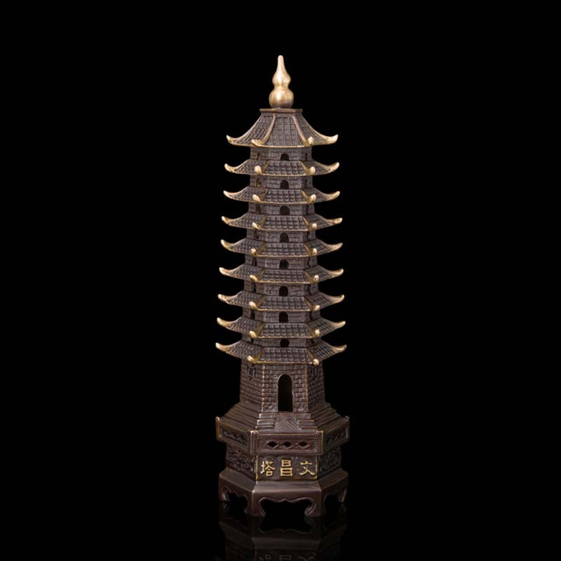 Arts Crafts Copper 9-Tier Pagoda ReligionTower Antique China Figurines Tibet Buddhist pagoda bronze Copper ninth floor WenchangArts Crafts Copper 9-Tier Pagoda ReligionTower Antique China Figurines Tibet Buddhist pagoda bronze Copper ninth floor Wenchang