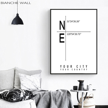 DIY Custom Latitude and Longitude City Map Poster Wall Art Canvas Print Painting Nordic Decoration Wall Picture for Bedroom image