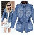 Más el tamaño 5XL 2016 nueva primavera otoño Denim lavado Vintage mujer Jeans cremallera de la chaqueta delgada Jean abrigos chaquetas prendas de vestir exteriores LY168