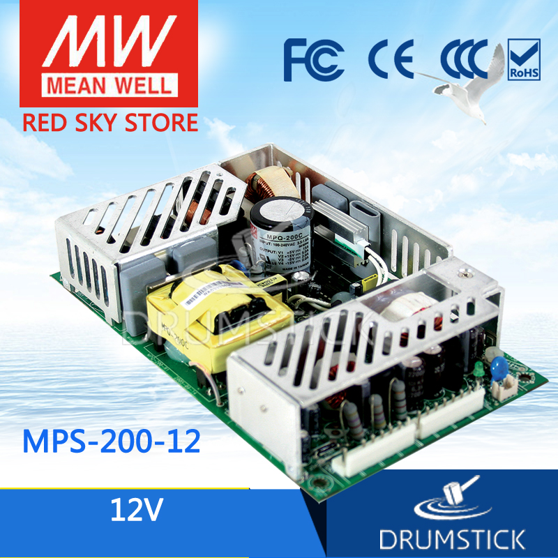 Hot sale MEAN WELL original MPS-200-12 12V 16.7A meanwell MPS-200 12V 200.4W Single Output Medical Type хай хэт и контроллер для электронной ударной установки millenium mps 200 mono cymbal pad