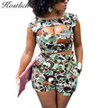 Kostlich 2017 Fashion Summer Short Sleeve Sexy Two Piece Outfits Casual Print Low Cut Crop Tops Elastic Waist Shorts 2 Piece Set
