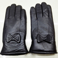 Women Leather Gloves For Winter Genuine Fur Lining Guantes Mujer Real Sheepskin Leather Female Gloves Bow With Fur Thicken Glove
