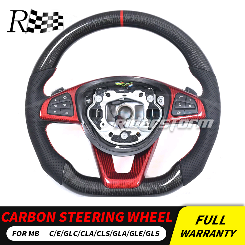 W205 углерода руль для Mercedes W205 w213 w117 GLA GLC GLE GLS cls-класса углеродного волокна руль из углеродного autoparts
