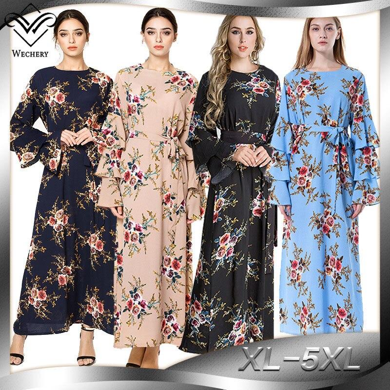 WU1796 M-7XL grande taille robe musulmane Floral Turmpet manches Abaya pour les femmes volants conception Slim taille caftan