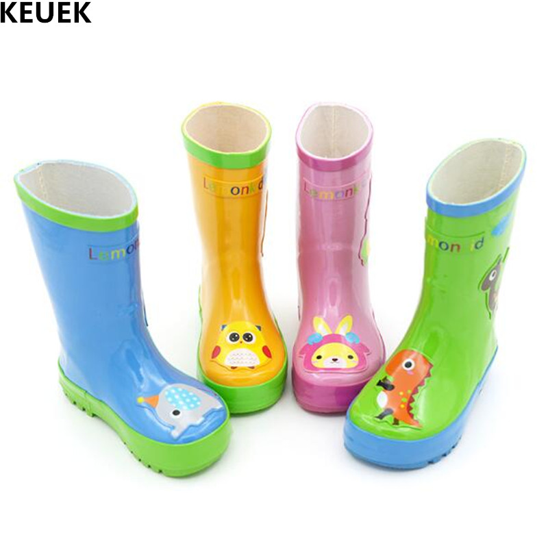 New Spring/Autumn Children Rain boots Boys Girls Rubber Water Shoes Anti-Slippery Student School Kids Leather Boots 03