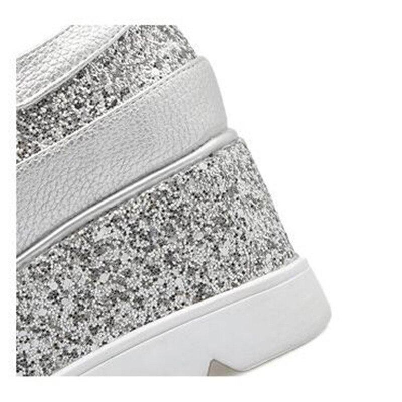 Qualité Cm Haute Topshoes Sneakers Bling Plate Femme sliver Womanhigh Wedge Augmenté forme Mode Chaussures Casual 8 Noir Talon Aw4qF0