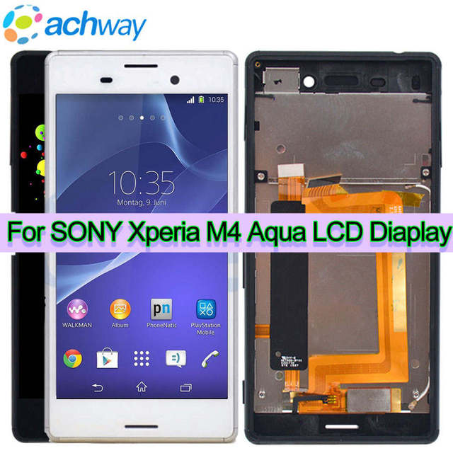 For Sony Xperia M4 LCD Display With Frame Touch Screen Digitizer Assembly E2303 E2333 E2353 For SONY M4 Aqua LCD Replacement
