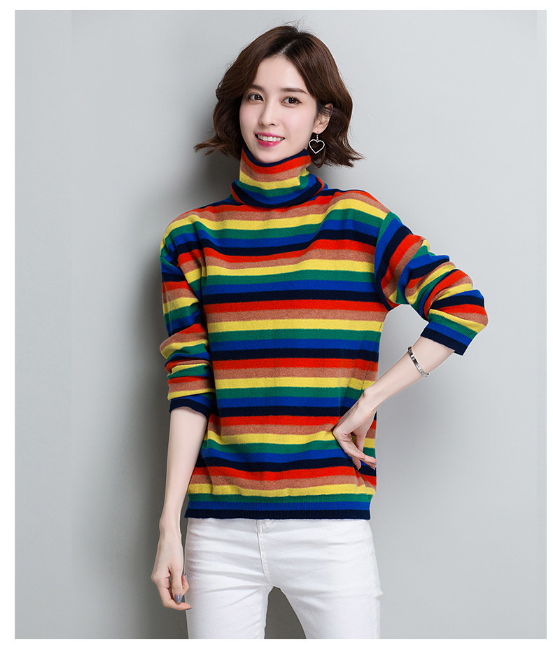 00213e29aac94 XJXKS Rainbow Turtleneck Sweater Women Winter 2019 Jumpers Knitted Clothes  Fashion Wool Sweaters Striped Nice Pullover Hot Sale