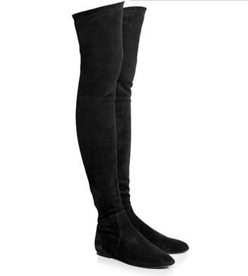 Botas Mujer Hiver Stretch Suede Femmes Bottes Hautes Confort Fond Plat Sur Le Genou Bottes Slip-Sur Cuissardes bottes