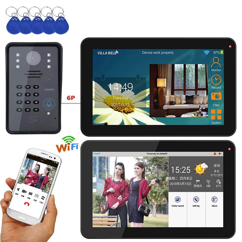 9 inch 2 Monitors Wired / Wireless Wifi RFID Password Video Door Phone  Doorbell Intercom System with + IR-CUT HD 1000TVL Camera