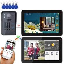 9 дюймов 2 монитора проводной/беспроводной Wifi RFID пароль видео дверной звонок Домофон Система с + IR-CUT HD 1000TVL камера