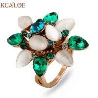 KCALOE Z Zielonym Austriacka Kryształ Ślub i Pierścionek zaręczynowy Tytanu Złota Kobiet Oświadczenie Biżuteria Natural Opal Kamienne Kręgi