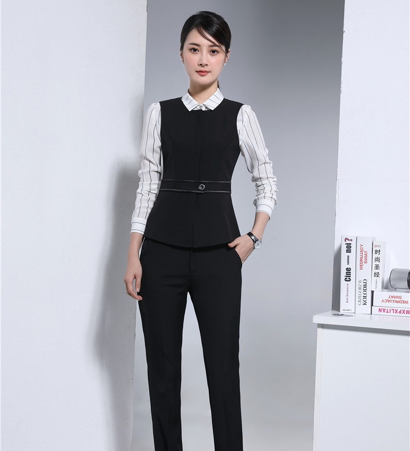 2 Piece Set Women Business Suits with Pant and Top Sets Vest & Waistcoat Black Elegant Office Uniform Designs ...