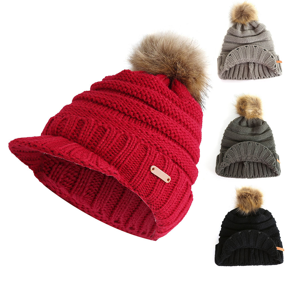 1 Pcs Frauen Dame Stricken Hut Kappe Große Plüsch Ball Warme Mit Krempe Herbst Winter-mx8