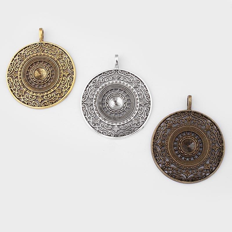 1 x Tibetan Silver FILIGREE FLOWER 66mm Charm Pendant Bead
