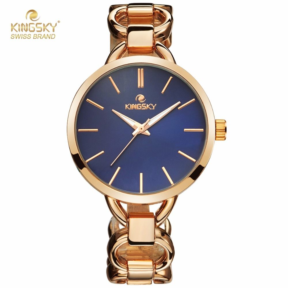 KINGSKY Causal Women Quartz Watch Gold Alloy Watch Big Round Case Rose Dial Japan Movement Fashion Luxury 2017 New 2693# orkina brand clock 2016 new luxury chronograph rose gold case black dial japan movement mens wrist watch cool horloges