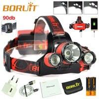BORUiT B21 LED Headlamp Cree XM L2+2xXPE USB Mirco Head lamp Strobe Hunting Headlight with 18650 Battery and Charger