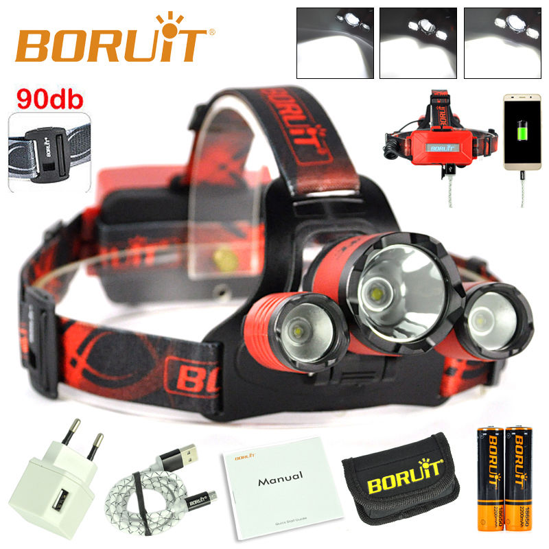 BORUiT B21 LED Headlamp Zoom Cree XM-L2+2xXPE USB Mirco Headlamp Strobe Hunting Headlight with 18650 Battery and Charger b21 9000lm l2 cree led headlamp waterproof head light camping lamp boruit led lights by 18650 battery with usb cable