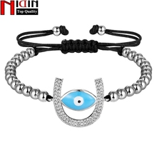 NIDIN Trendy Handmade 4MM Beads Bracelets For Women U & Eye Shape Adjustable Size Fine Party  Jewelry Gift Four Colors Choice
