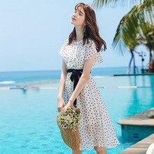 Wasteheart Summer White Women Dress Chiffon O Neck Holiday Sexy Plus Size Sashes Heart Print Dresses Beach Sundress Long