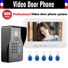 7 Inch Screen Video Door Phone Intercom System 1000TVL Password Code Keypad Camera 5pcs ID Card Video Doorbell Kit