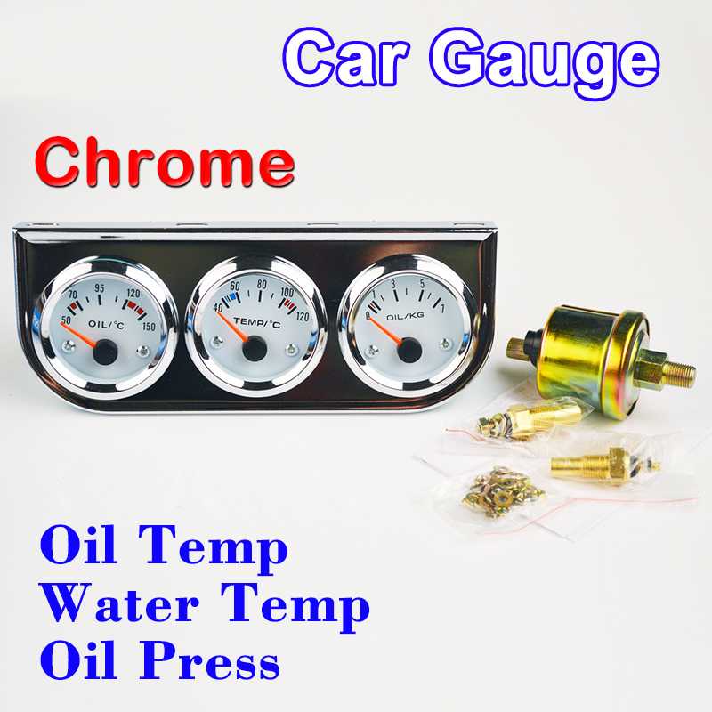 DRAGON GAUGE 52mm Car Gauge Chrome Holder Oil Temperature / Water Temp / Oil Press Gauges 3-In-1 Kit Car Meters Triple Dashboard dragon gauge car triple guage 52mm voltage water temp celsius or fahrenheit oil press black chrome bezel 3 in 1 kit meter
