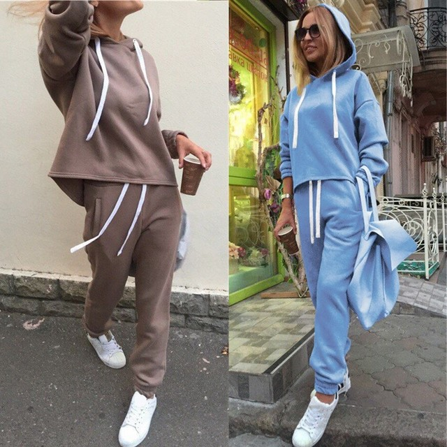New Thicken Hooded Sweatshirts 2 Piece Casual Sport Suit Set 3