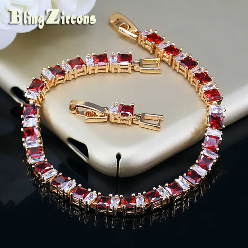 BeaQueen Exquisite Gold Color Jewelry Square CZ Crystal and Cubic Zircon Stone Setting Indian Red Bracelet for Women B039